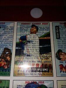 OVERPRINT ERROR 25-CARD UNCUT SHEET 1951 BOWMAN TED WILLIAMS NELLIE FOX ROOKIE