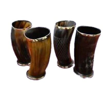 """Viking Drinking Horn Mug Cup Game of Thrones Medieval 6/"""" Assorted Set of 4"""