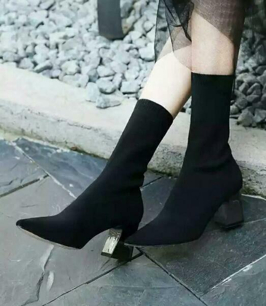 Womens Sexy High Block Heels Stretch Mid Calf Socks Boots Stilettos Shoes SZ G27