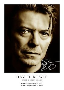 297mm x 210mm # 51-1947 A4 copy 2016 DAVID BOWIE Tribute Poster Signed