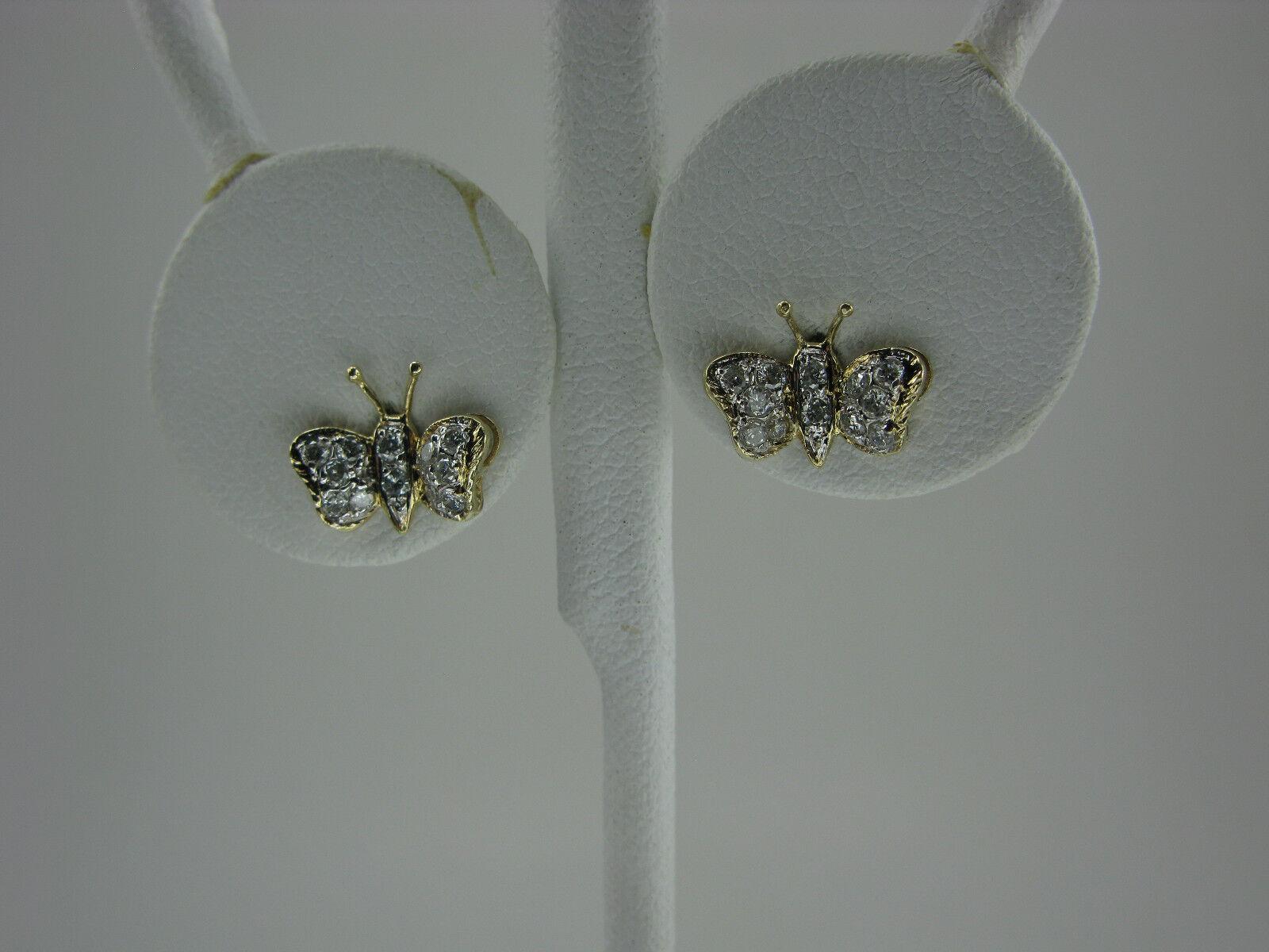 14K gold Butterfly Diamond Stud Earrings