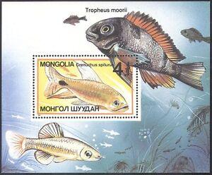 Mongolia 1987 Tropical Fish/Marine/Nature/Sailfin Tetra/Cichlid m/s ref:b5524