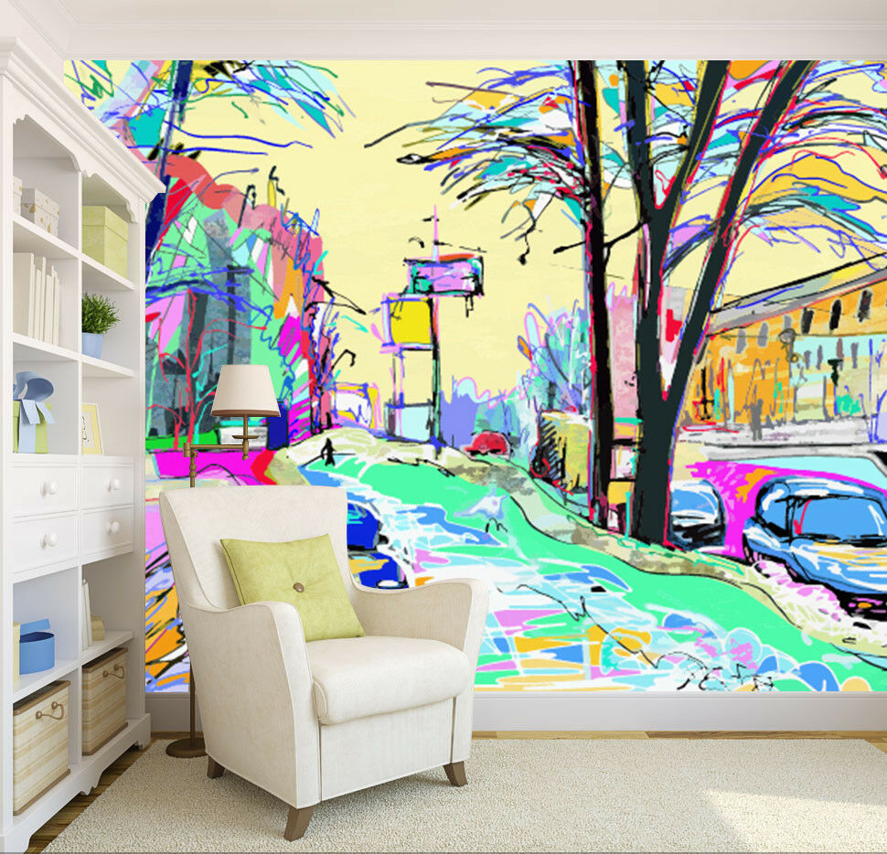 3D Watercolor City 7 Wall Paper Murals Wall Print Wall Wallpaper Mural AU Summer