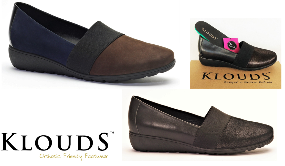 Klouds shoes - Orthotic friendly comfort leather low wedge elastic shoes Loretta