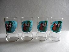 4 Retro Vintage Swanky Swig Sue Bee Honey Bear Drink Juice Glass Tumblers
