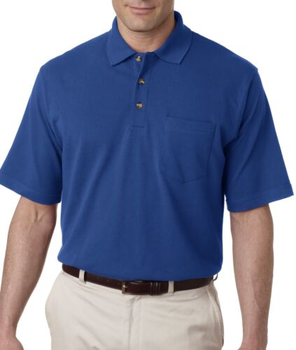 UltraClub Mens Classic Pique Cotton Polo Shirt with Pocket 8534