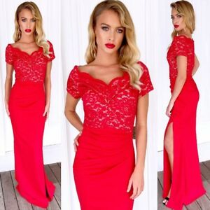Red-Size-8-Off-Shoulder-Formal-Evening-Party-Special-Events-Dress