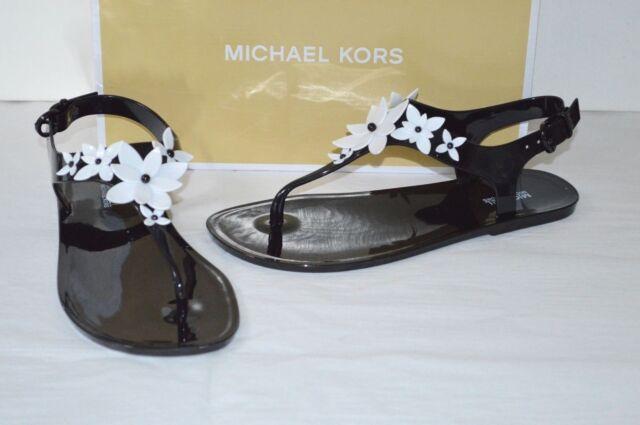 e2f98db6da70 New  79 Michael Kors Lola Jelly Thong PVC Sandal Black Optic White Flower  Rare