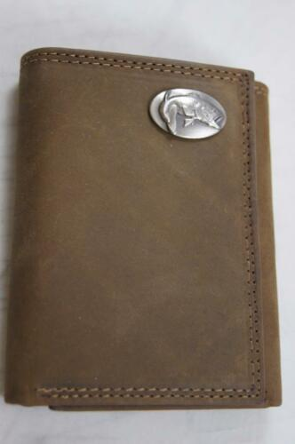 ZEP PRO Largemouth Bass Fish Crazy Horse Leather trifold Wallet Tin Gift Box