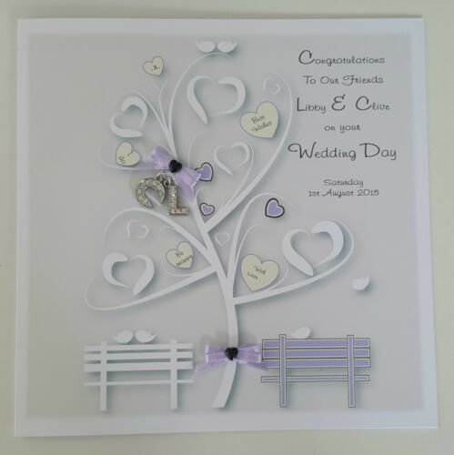 Large Personalised Wedding Day Card  /& Money Wallet Lilac FRIENDS ANY COLOUR