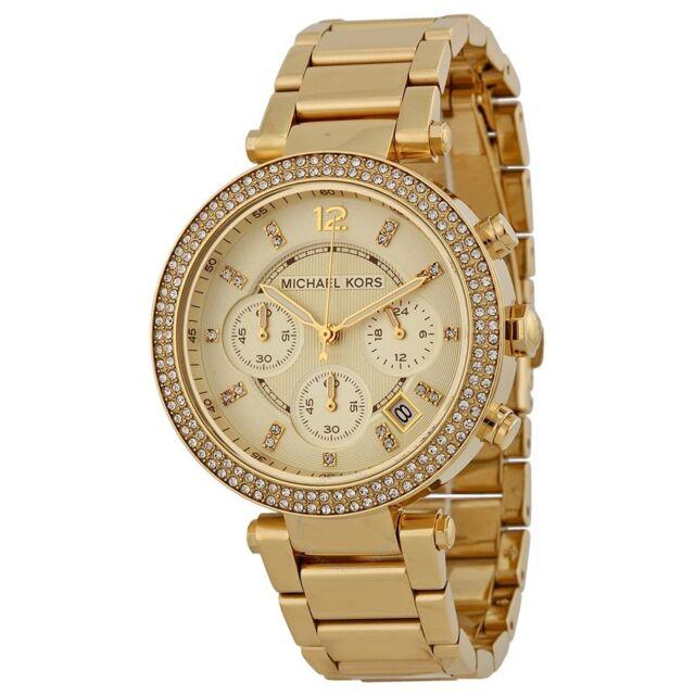 Michael Kors MK5354 Ladies Parker Glitz Collection Gold Tone Chronograph Watch