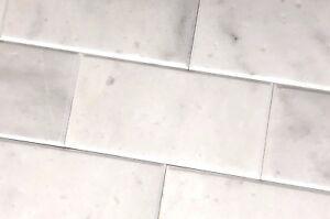 Carrara White 4x8 Polished Beveled Marble Tile Wall
