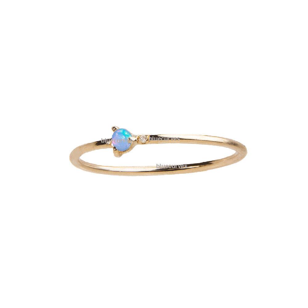Genuine 14K Yellow gold Opal Gemstone & SI Diamond Ring Gift Jewelry Size 3 - 9
