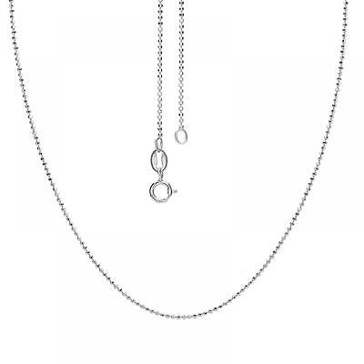 "Sterling Silver 925 Diamond Cut Italian Bead Chain -18"" (Set of 3 Chains)"
