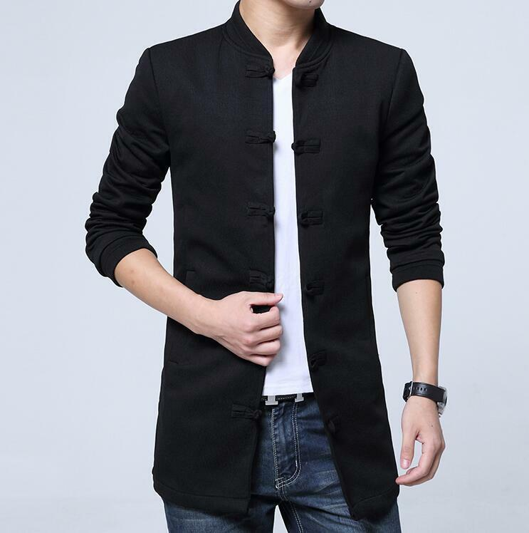 Da Uomo Cinese Cotone Lino stand collare giacca casual cappotto giacca collare Outwear Tops Vestito UK 660b5d