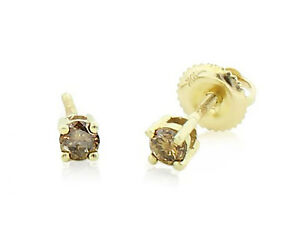 Details About 10k Yellow Gold Chocolate Brown Diamond Earrings Stud 25ct