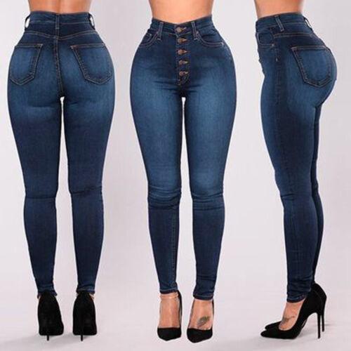 Women High Waisted Skinny Denim Jeans Stretch Slim Pants Calf Length Jeans Pants