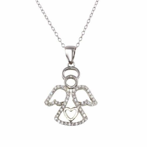 925 STERLING SILVER ANGEL HEART PENDANT NECKLACE W// LAB DIAMONDS 18/'/'