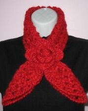 Crochet PATTERN - Rose Red Heart Scarf Neckwarmer and Headband Xmas Gift