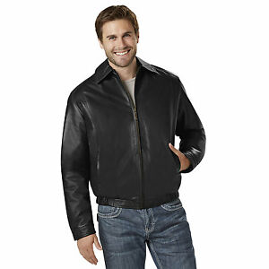0940fd163 Details about Excelled Big Tall Black Leather Bomber Jacket Coat Men's Size  2XL NWT