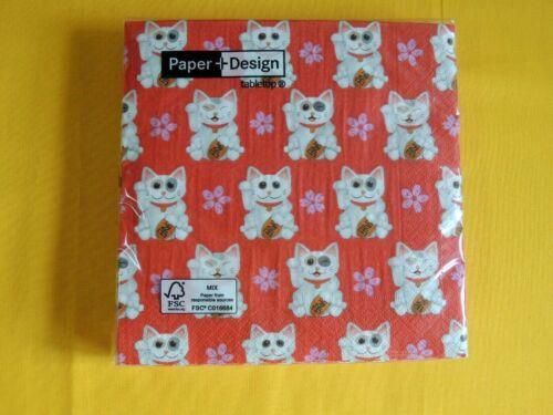 20 Servietten Winke Katzen Glückskatze 1 Packung OVP napkins Maneki-neko  PD