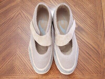 Temperate New Propet Beige/gray Suede Mesh Low Heel Mary Jane Comfort Shoes Size 6m Women's Shoes