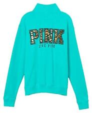 Victoria's Secret Boyfriend Half Zip Pullover Sweatshirt Xsmall - Leopard Print