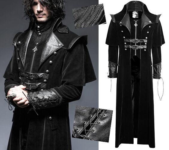 Veste longue cuir noir homme
