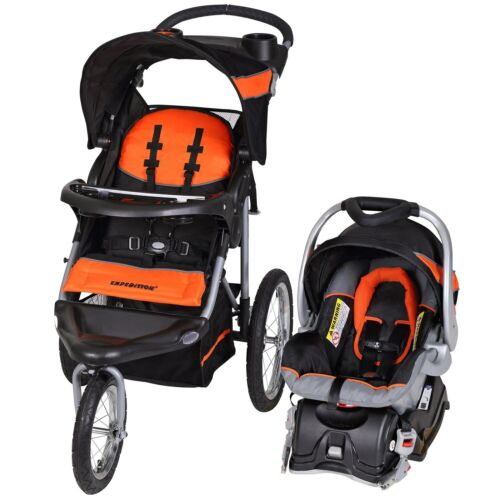 Baby Trend Orange Jogger Travel System Walk Out Stroller Car Seat Deluxe Playard