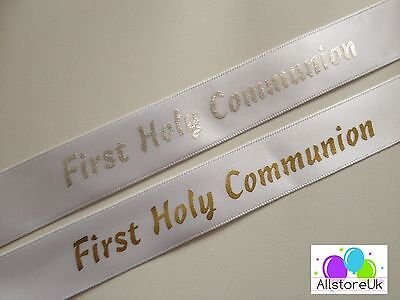 Gold or Silver First Holy Communion Cut Satin Ribbon 20mm Wide Cake Wrap Gift