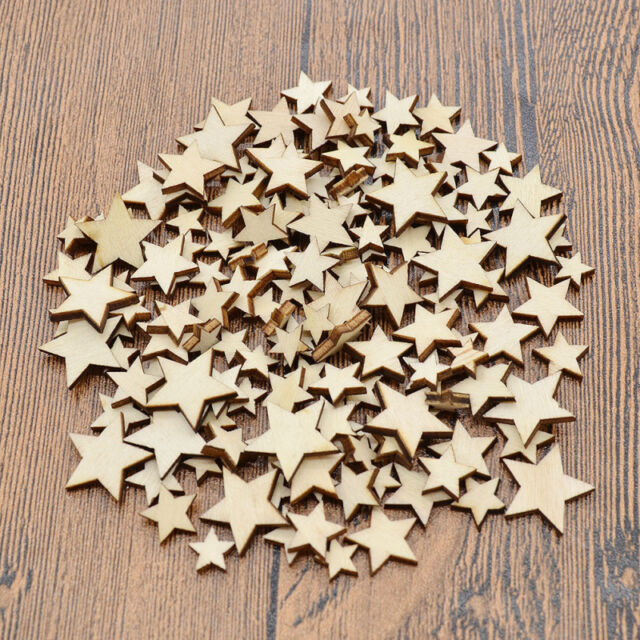 100X Pentagram Star Shapes Home Decor Ornament Crafts DIY Accessories Wooden New