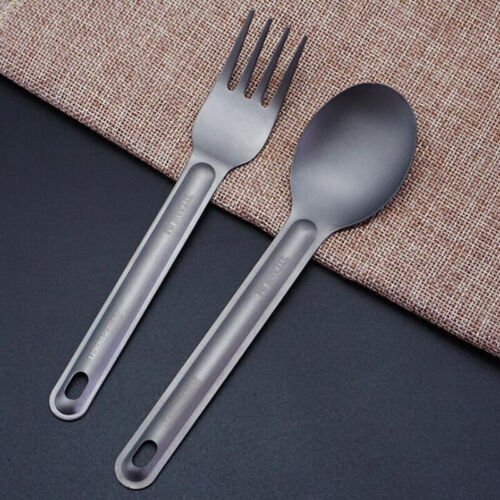 Titanium Spoon And Fork Camping Outdoor Tableware Long-handled Portable To si