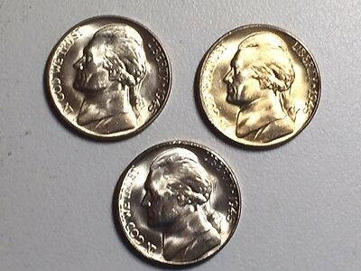 LOT 1945-P 1945-D 1945-S PDS Ch//GEM BU SILVER JEFFERSON WARTIME NICKEL SET #/%20