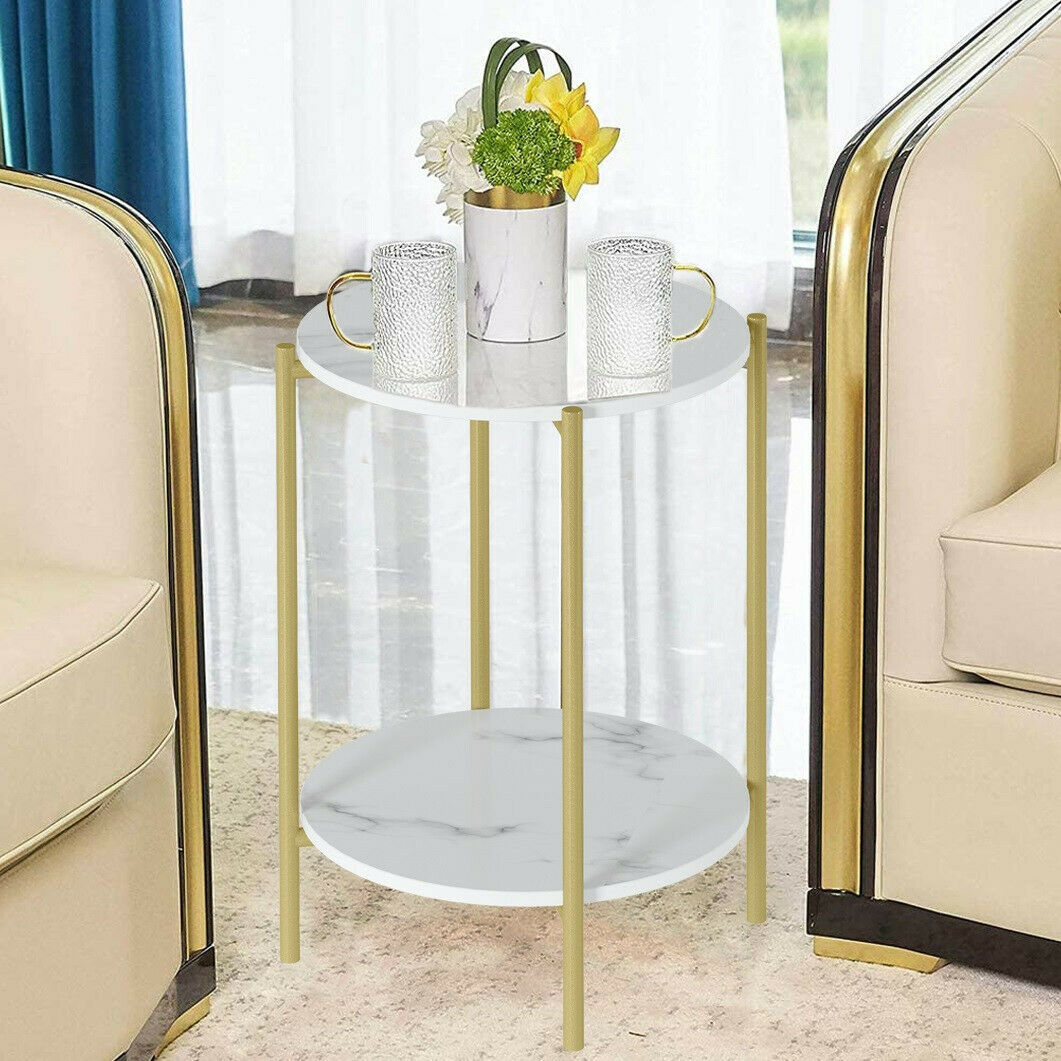 2-Tier Round Side Table End Marble Table Coffee Table with 4 Legs &Storage Shelf