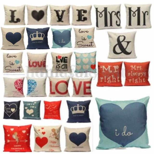 Funny Painting Pillow Case Cushion Cover Mr right and Mrs always right Wedding