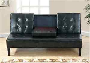 Adjustable Sofa Black Faux Leather Modern Tufted Back Living Room Furniture