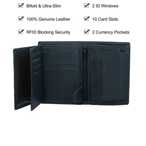 Luxe Bleu Tri-Fold Porte-carte en cuir portefeuille RFID Bloquant Cadeau pour Hommes