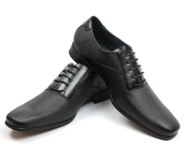 45dd5baebd8 New Mens Ferro Aldo Black Herringbone Dress Shoes Leather Snipe Toe Oxfords  NEW