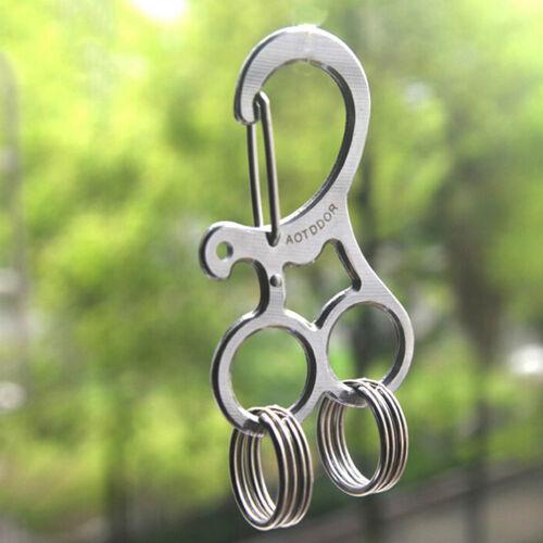 EDC Hard Stainless Key Holder Organizer Clip Folder Keychain Pocket Tool AL