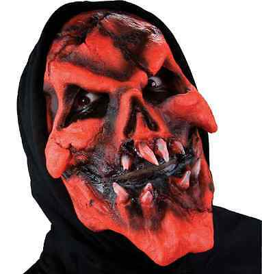 Burning Skull Red Devil Mask Dress Up Halloween Costume Makeup Latex Prosthetic