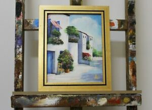 Painting-City-Landscape-Handmade-Oil-Painting-Picture-Oil-Frame-Pictures-G96149