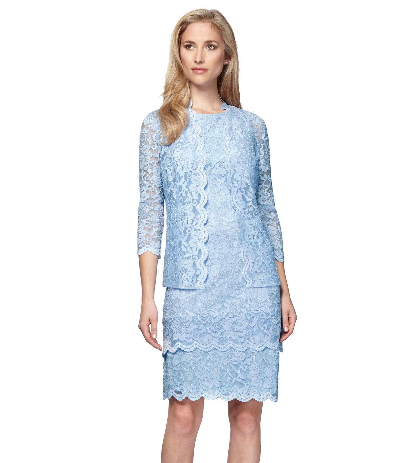 NWT-ALEX EVENINGS Größe 8 Blau Lace Woherren Jacket & Dress 2-Piece Retail