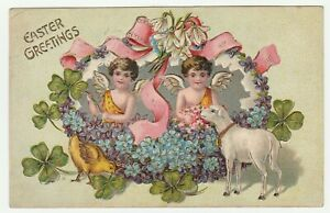 Vintage-Postcard-Easter-Cherubs-Chick-Lamb-Clover-Forget-Me-Not-Flowers-Embossed