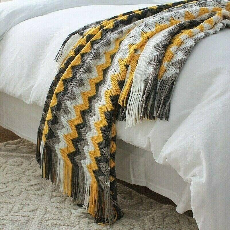 Ethnisch Decke Boho Bohemian Streifen Welle Gestrickt Sofa Bett Überwurf Quasten