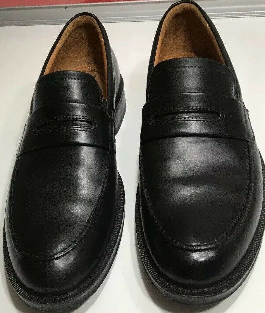 15-Ecco Penny Slip On Loafers shoes Black Leather Men Size 8.5 Eur 42