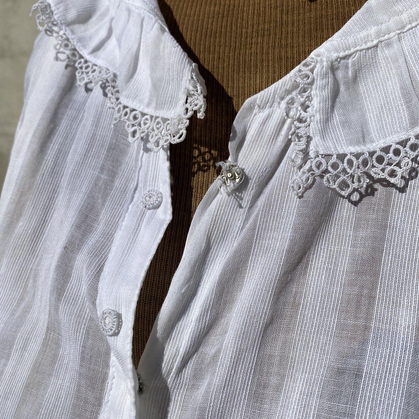 Antique Edwardian White Cotton Tea Dress Maxi Lac… - image 3