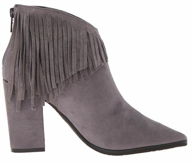 Kenneth Cole Reaction Reaction Reaction Women's Pull Ashore Fringe Ankle Booties Charcoal Size 7 M ef2192