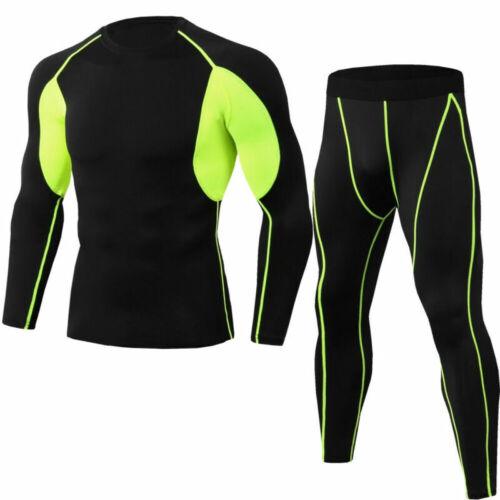 Mens Compression couche de base à manches longues Set Shirt Hauts Sous-vêtements à séchage rapide Pantalon
