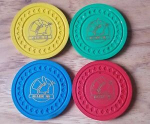Rare-Lot-of-4-Hat-amp-Hare-Pub-Magic-Token-Coin-Listed-Vintage-MT154