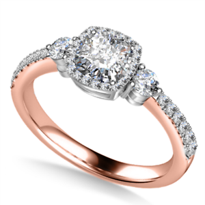 1.50 Ct Cushion Cut Moissanite Engagement Ring 14K Solid Rose Gold ring Size 5 6
